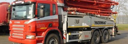 Red used concrete pump sold at Kleyn Trucks