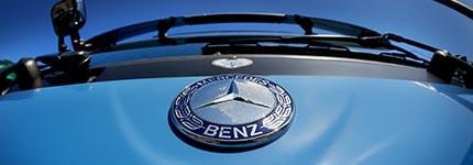 Front of Blue Mercedes BEnz Truck