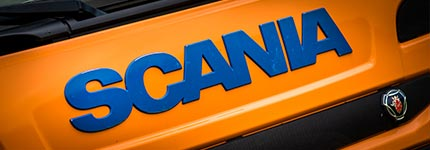 Orange Scania truck front grill
